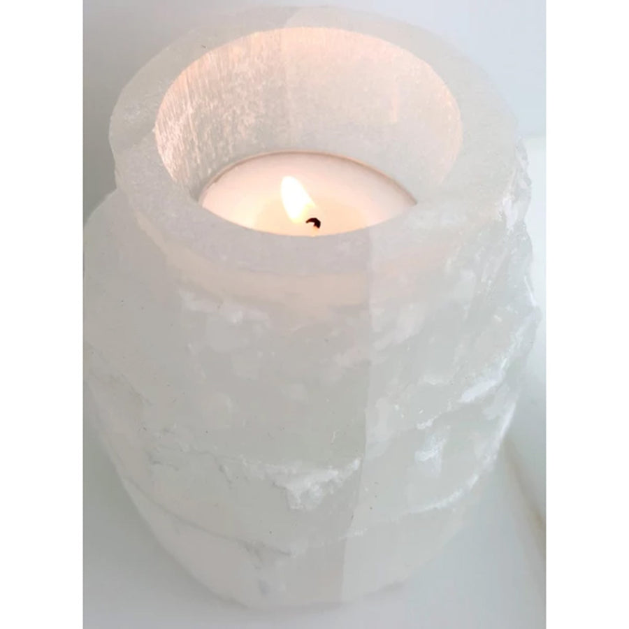 Selenite Crystal Tealight Tower