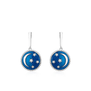 Crimson Night Moon Star Earrings