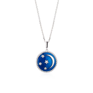 Crimson Night Moon Star Pendant