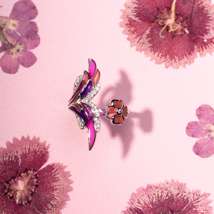 Amethyst Plum Butterfly Ring