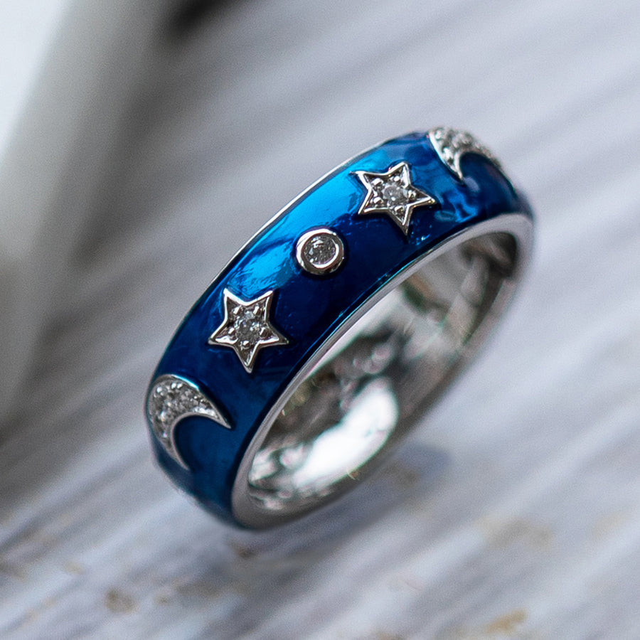 Crimson Night Moon Star Ring