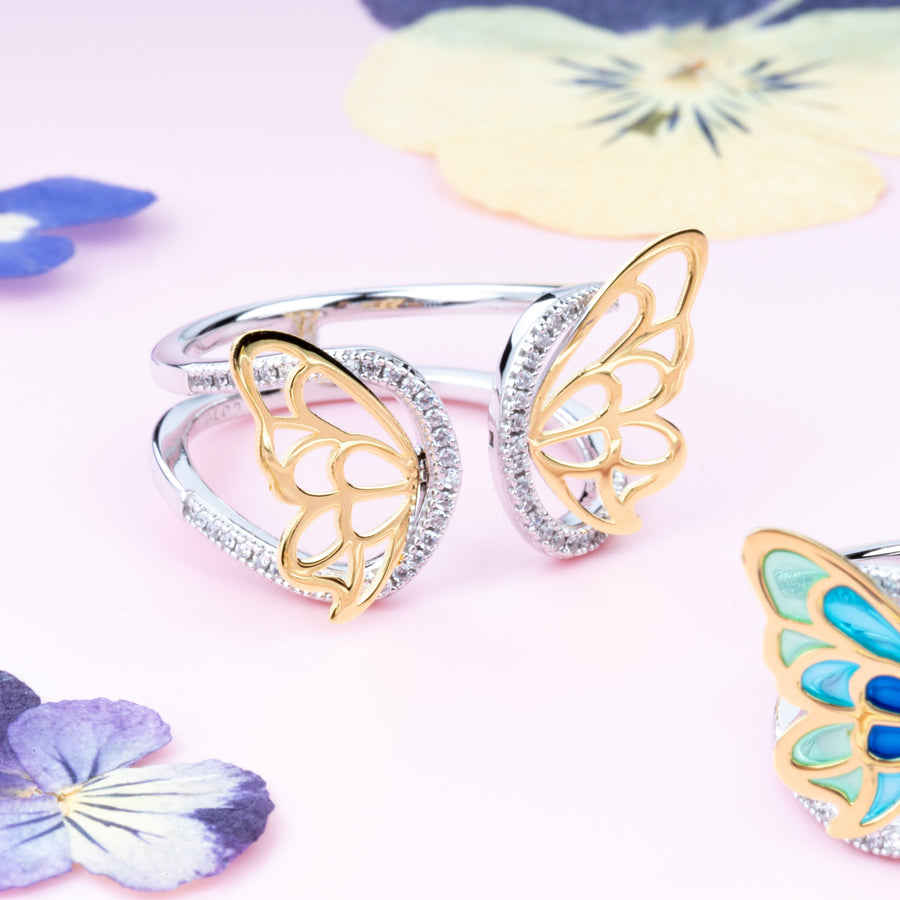 Golden Wings Butterfly Ring