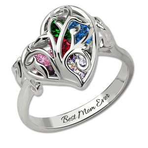 Heart Family Tree Encased Birthstones Ring For Mom
