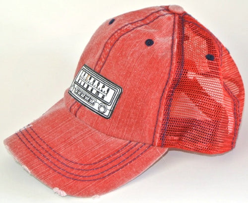 Red Fairhope Radio Distressed Trucker Hat