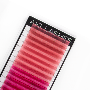 Pink and Hot Pink Colored Lashes - Volume 0.07 Diameter Mixed - Aki Lashes