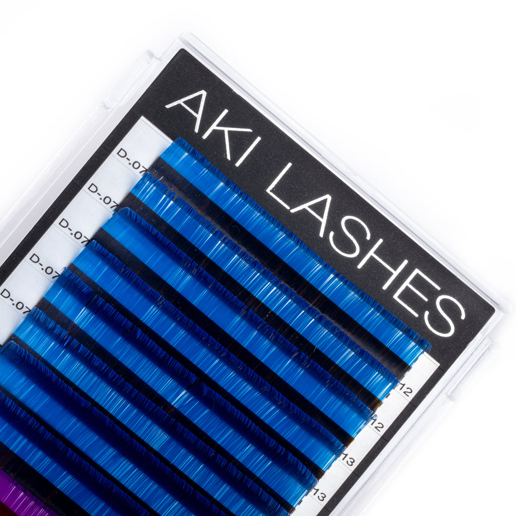 Blue and Purple Colored Lashes - Volume 0.07 Diameter Mixed - Aki Lashes