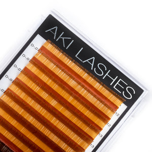 Light and Dark Brown Colored Lashes - Volume 0.07 Diameter Mixed - Aki Lashes