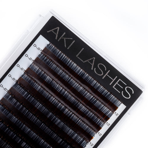 Two Toned Brown Colored Lashes - Volume 0.07 Diameter Mixed - Aki Lashes