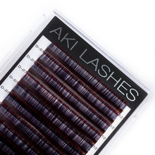 Load image into Gallery viewer, Two Toned Red Colored Lashes - Volume 0.07 Diameter Mixed - Aki Lashes