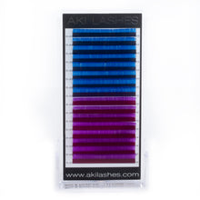 Load image into Gallery viewer, Blue and Purple Colored Lashes - Classic 0.15 Diameter Mixed - Aki Lashes