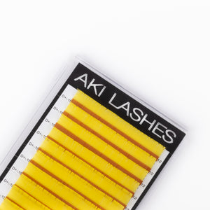 Yellow Colored Lashes - Volume 0.07 Diameter Mixed - Aki Lashes