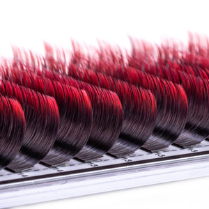 Two Toned Red Colored Lashes - Volume 0.07 Diameter Mixed - Aki Lashes