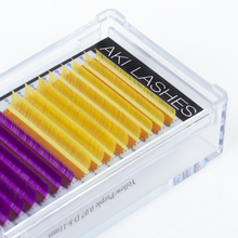 Load image into Gallery viewer, Purple and Yellow Colored Lashes - Classic 0.15 Diameter Mixed - Aki Lashes