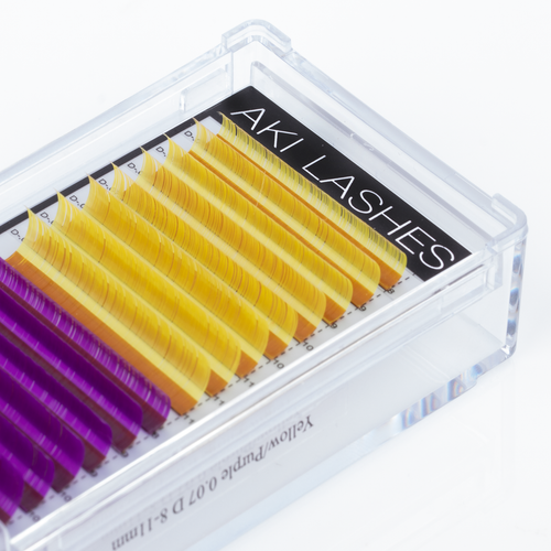 Purple and Yellow Colored Lashes - Volume 0.07 Diameter Mixed - Aki Lashes