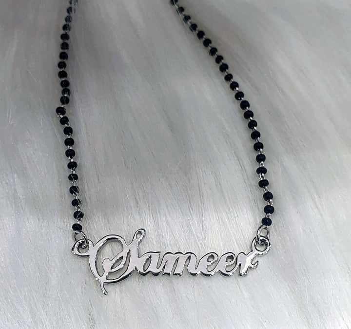 Customised Name Stencil Mangalsutra/Nazariya Necklace