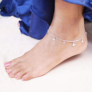 The Butterfly, Dragonfly and Flower Charms Anklet (Single/Pair)