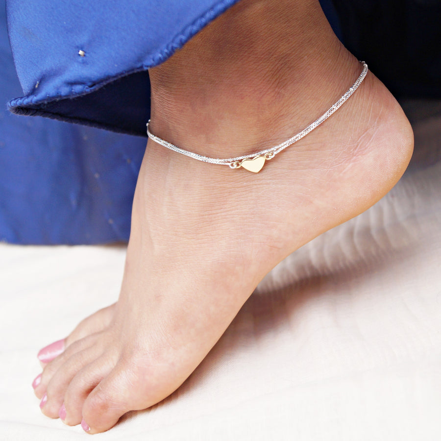 The Gold Heart Double Layer Anklet (Single/Pair)