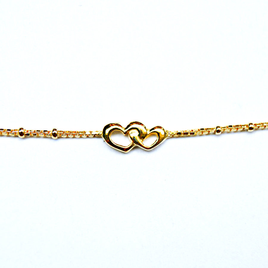 The Golden Couple Hearts Anklet (Single/Pair)
