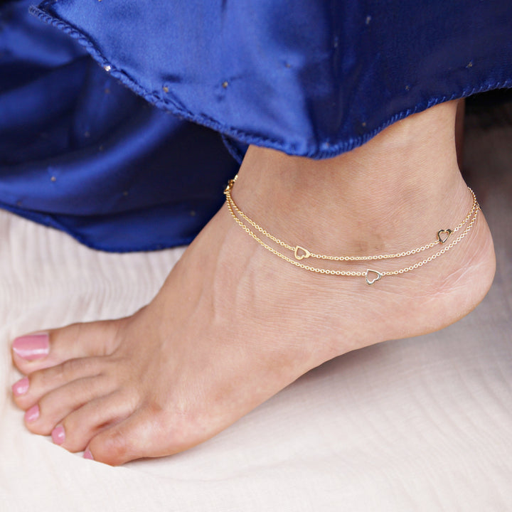 The Heart Stencil Golden Anklet (Single/Pair)