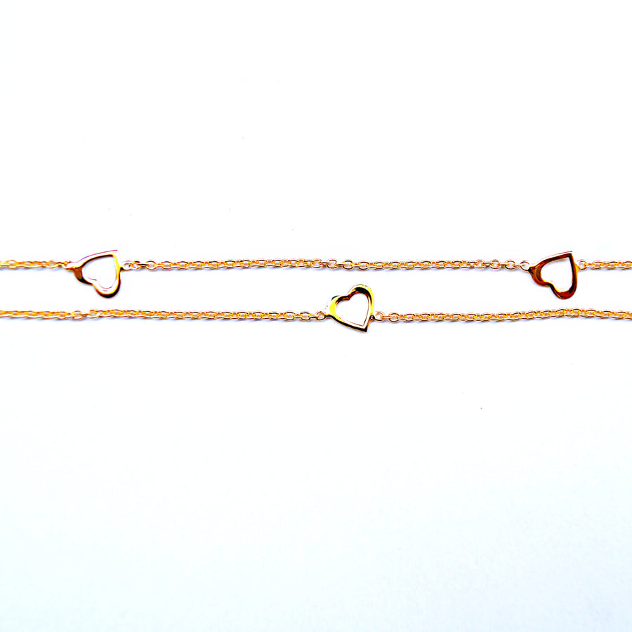 Golden Heart Stencil Anklet (Single/Pair)