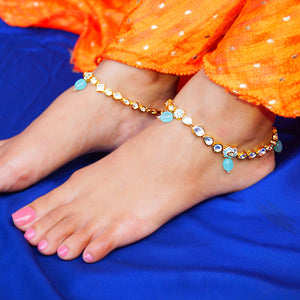The Golden Kundan Anklet with Mint Meena Touch (Pair)
