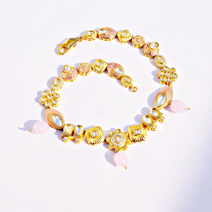 The Lavish Golden Kundan-cz Anklet with Pink Meena Touch (Pair)