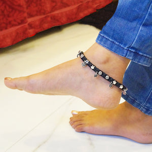 The Flower and Star Black Thread Anklet (Single/Pair)