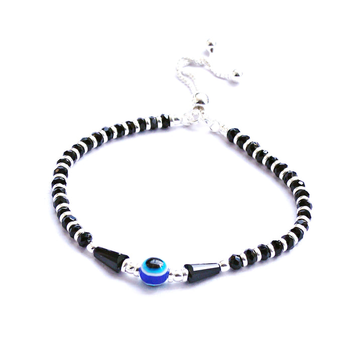 Adjustable Evil-eye Nazariya with Pear Beads Bracelet