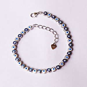 Sequence of White and Blue Evil Eye Bracelet