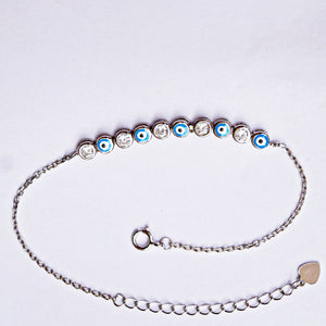 Sequence of White-Blue Evil Eye Chain Bracelet