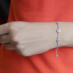 Wheel of Cz and Evil Eye Chain Bracelet