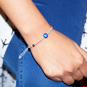 Silver Beads Flat Evil Eye Adjustable Bracelet