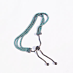 The Triple Layer Turquoise Brown Silver Bracelet