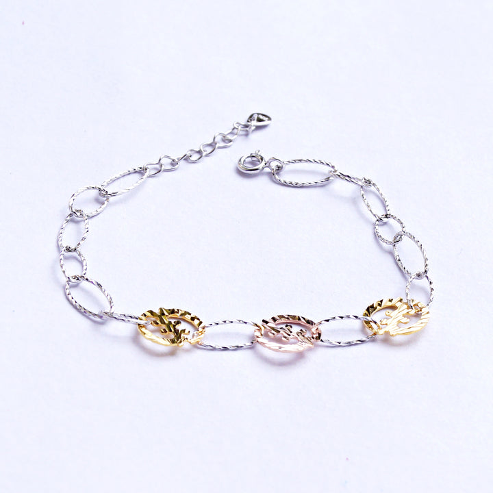 The Tri-colour Pine Coin Connection Baby Anklet (Single/Pair)