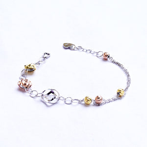 The Tri-colour Disparate Beads Connection Kids Anklet (Single/Pair)