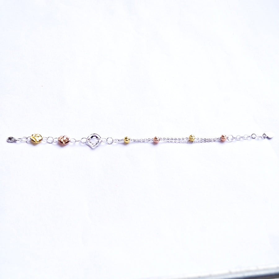 The Tri-colour Disparate Beads Connection Anklet (Single/Pair)