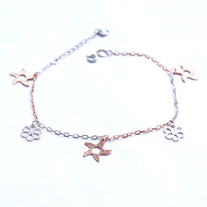 The Dual-colour Starfish and Flower Charm Bracelet