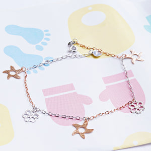 The Dual-colour Starfish and Flower Charm Kids Anklet (Single/Pair)