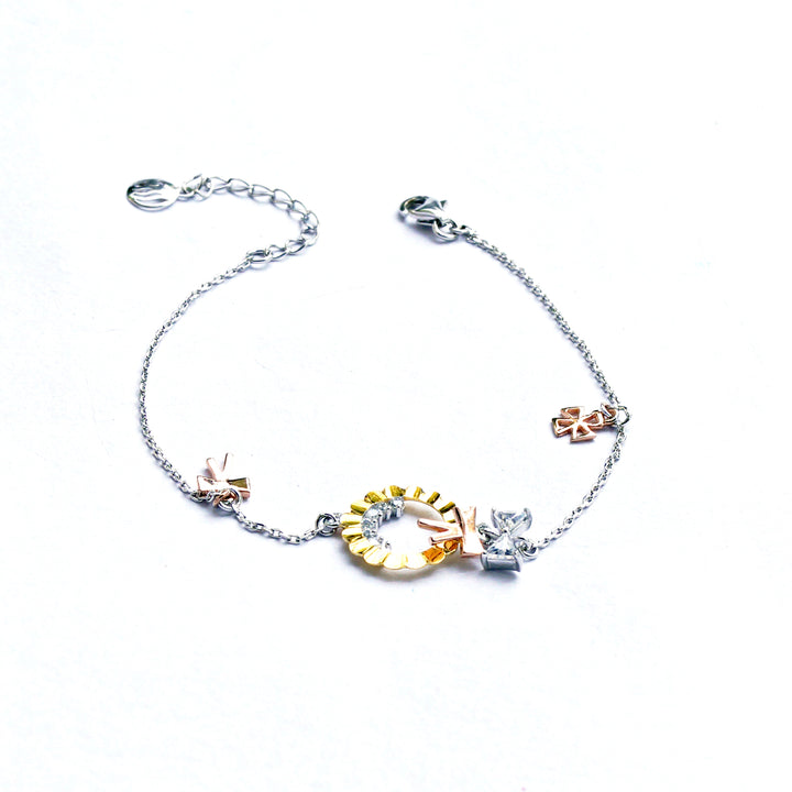 The Tri-colour Garland and Bow Charms Bracelet