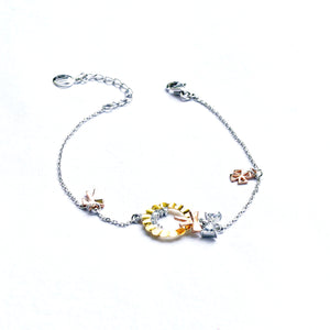 The Tri-colour Garland and Bow Charms Kids Anklet (Single/Pair)