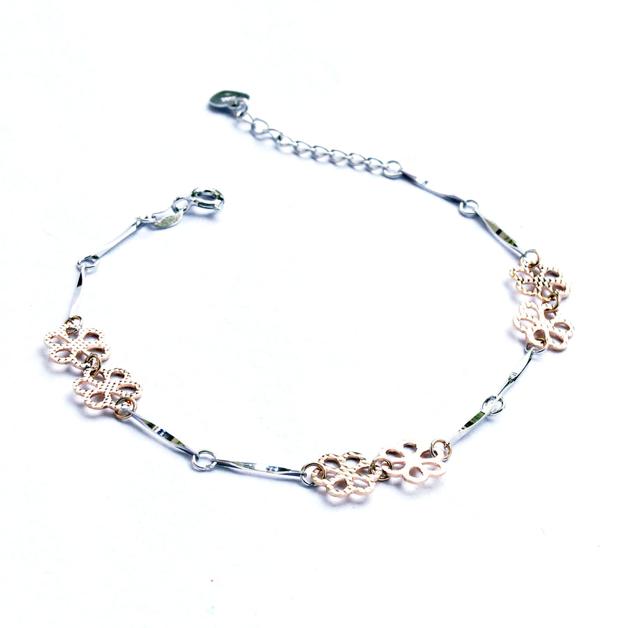 The Dual-colour Stem and Flower Kids Anklet (Single/Pair)