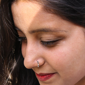 Helix and Silver Bead Nose Ring