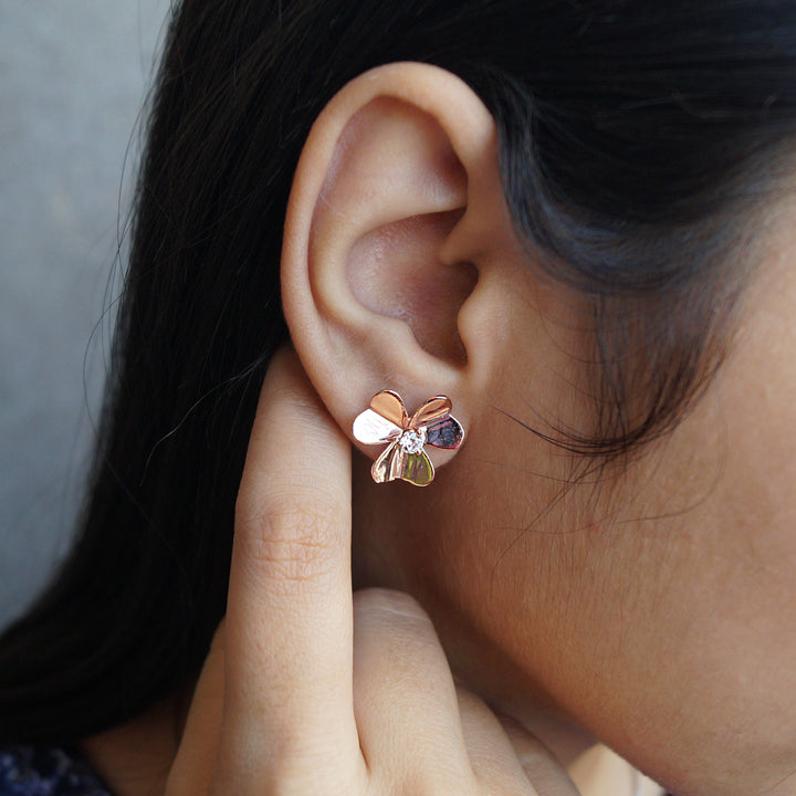 The Rose Gold Flower Studs