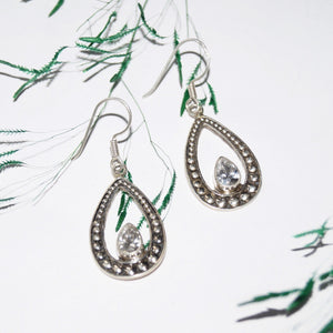Cut-Stone Drop Earrings