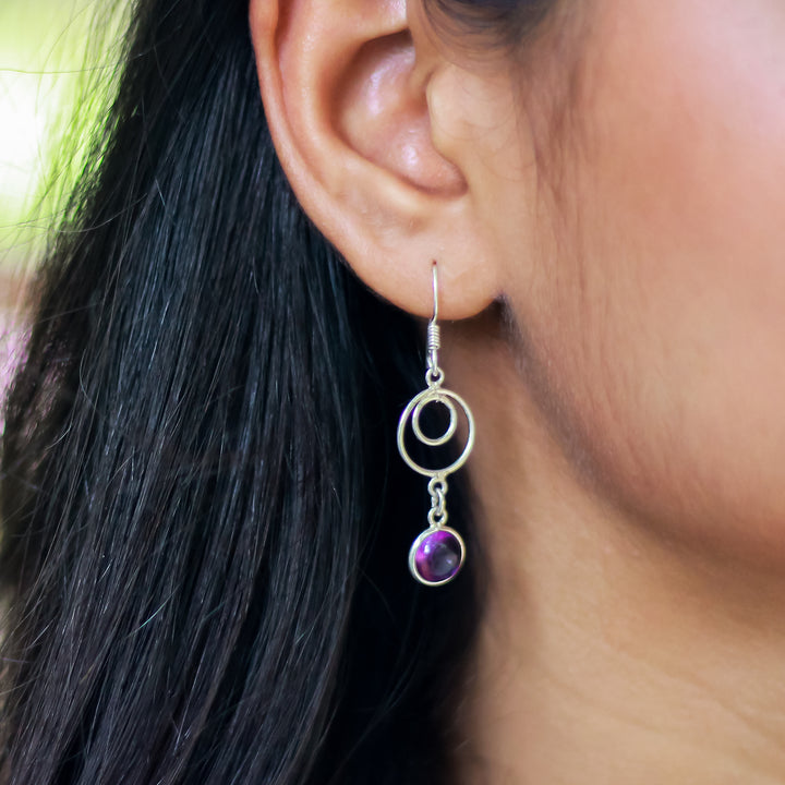 The Hoopla Purple-Aa Earrings
