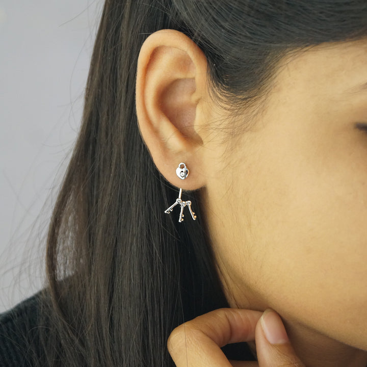 The Double Styled Lock Stud - Keys Earrings