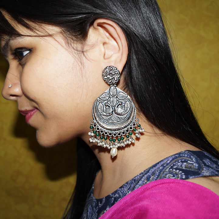 The Flat Mayur Jhumkas with Pearl-Emerald Drops