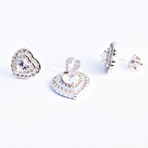 The Heart of Cz Pendant Set