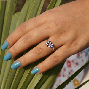 The Midi cum Casual Sapphire Heart Ring