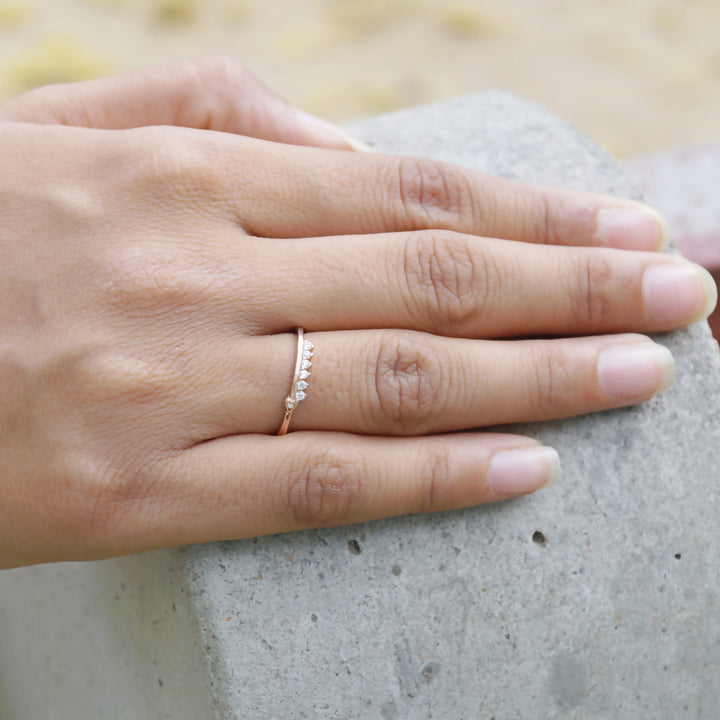 The Rose Gold Uniformly Embedded Stone Ring